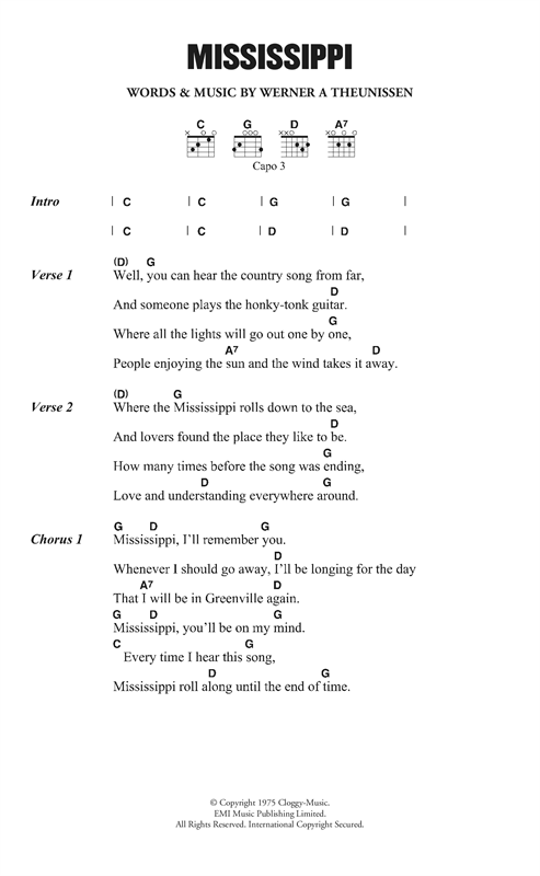 Pussycat Mississippi sheet music notes and chords. Download Printable PDF.