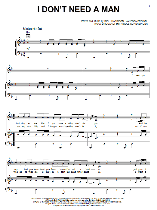Pussycat Dolls I Don't Need A Man sheet music notes and chords. Download Printable PDF.