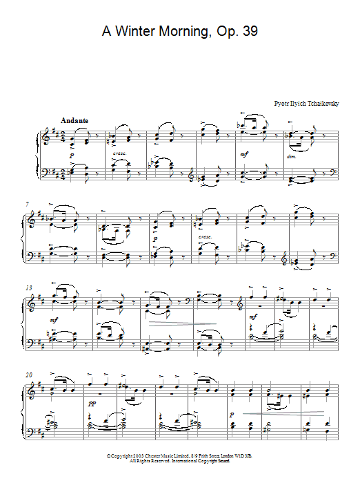 Pyotr Ilyich Tchaikovsky A Winter Morning, Op. 39, No. 2 (from Album For The Young) sheet music notes and chords. Download Printable PDF.