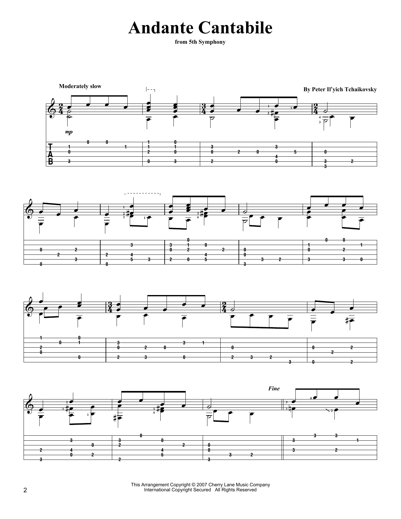Pyotr Il'yich Tchaikovsky Andante Cantabile sheet music notes and chords. Download Printable PDF.
