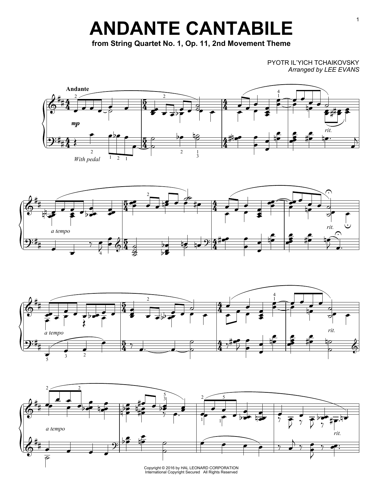Lee Evans Andante Cantabile sheet music notes and chords. Download Printable PDF.