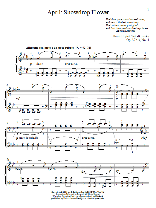 Pyotr Ilyich Tchaikovsky Snowdrop Flower sheet music notes and chords. Download Printable PDF.