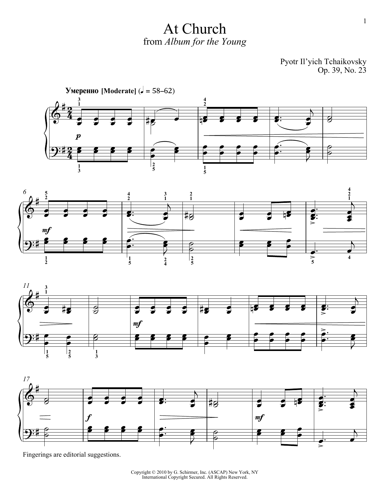 Pyotr Il'yich Tchaikovsky At Church sheet music notes and chords. Download Printable PDF.