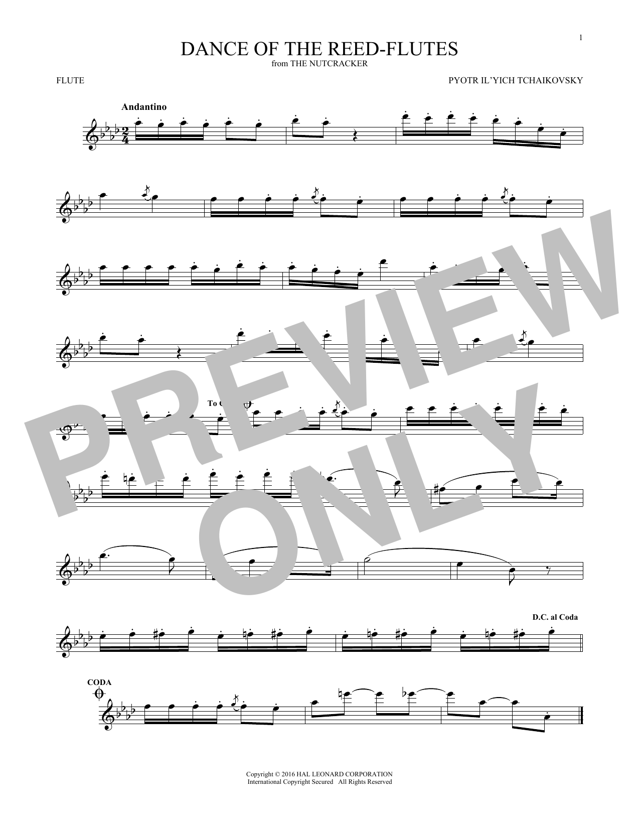 Pyotr Il'yich Tchaikovsky Dance Of The Reed Flutes, Op. 71a sheet music notes and chords. Download Printable PDF.