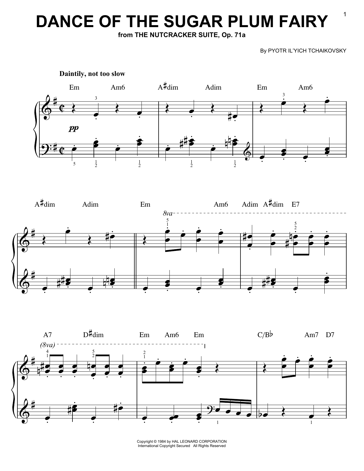 Pyotr Il'yich Tchaikovsky Dance Of The Sugar Plum Fairy sheet music notes and chords. Download Printable PDF.