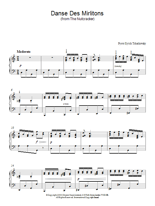 Pyotr Ilyich Tchaikovsky Danse Des Mirlitons (from The Nutcracker) sheet music notes and chords. Download Printable PDF.