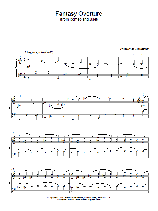 Pyotr Ilyich Tchaikovsky Fantasy Overture (from Romeo And Juliet) sheet music notes and chords. Download Printable PDF.