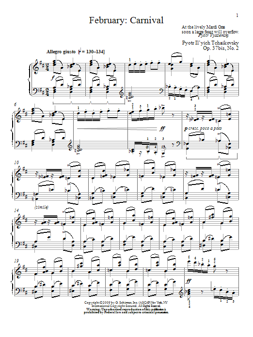Pyotr Ilyich Tchaikovsky Carnival sheet music notes and chords. Download Printable PDF.