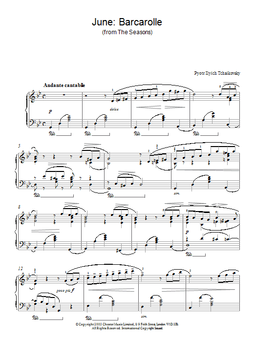 Pyotr Ilyich Tchaikovsky June: Barcarolle (from The Seasons) sheet music notes and chords. Download Printable PDF.