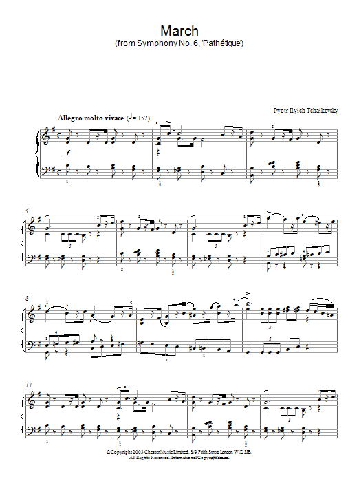 Pyotr Ilyich Tchaikovsky March (from Symphony No. 6, 'Pathétique') sheet music notes and chords. Download Printable PDF.