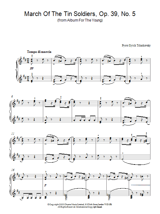 Pyotr Ilyich Tchaikovsky March Of The Tin Soldiers, Op. 39, No. 5 (from Album For The Young) sheet music notes and chords. Download Printable PDF.