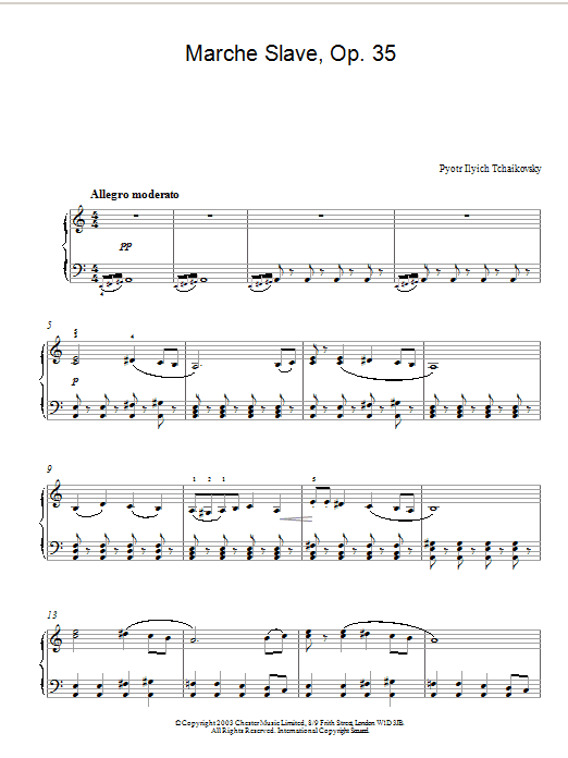 Pyotr Ilyich Tchaikovsky Marche Slave, Op. 31 sheet music notes and chords. Download Printable PDF.