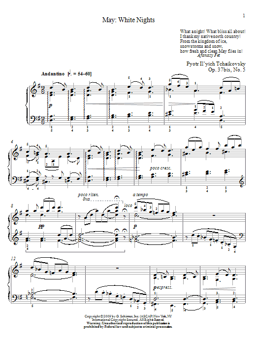 Pyotr Ilyich Tchaikovsky White Nights sheet music notes and chords. Download Printable PDF.
