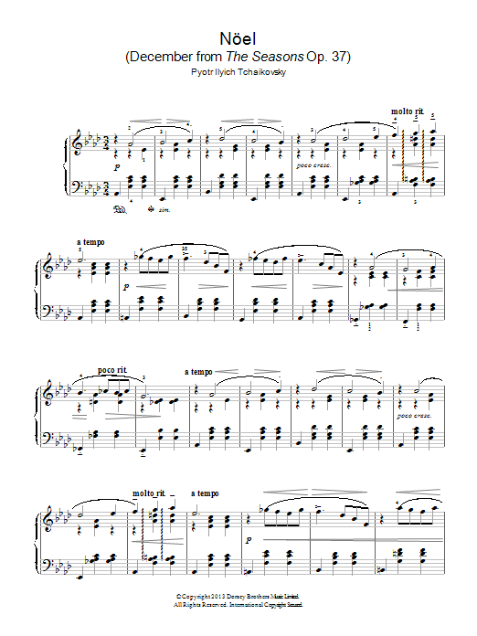 Pyotr Ilyich Tchaikovsky Noel (December from 'The Seasons' Op. 37) sheet music notes and chords. Download Printable PDF.