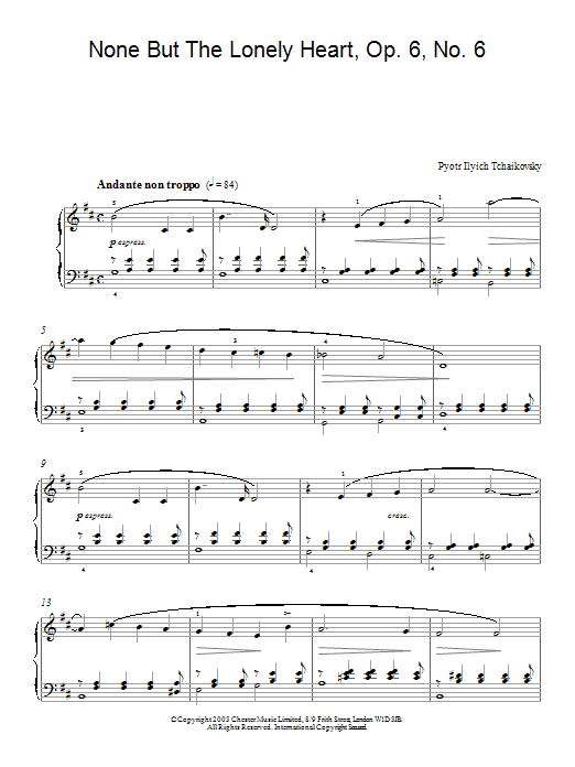 Pyotr Ilyich Tchaikovsky None But The Lonely Heart, Op. 6, No. 6 sheet music notes and chords. Download Printable PDF.
