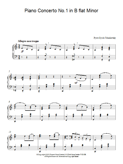 Pyotr Ilyich Tchaikovsky Piano Concerto No.1 in B Flat Minor, Op.23 sheet music notes and chords. Download Printable PDF.