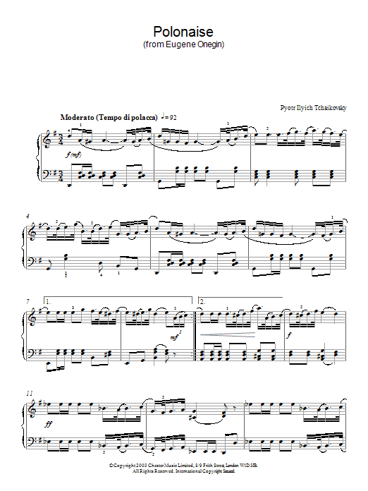 Pyotr Ilyich Tchaikovsky Polonaise (from Eugene Onegin) sheet music notes and chords. Download Printable PDF.