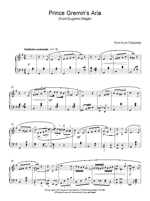 Pyotr Ilyich Tchaikovsky Prince Gremin's Aria (from Eugene Onegin) sheet music notes and chords. Download Printable PDF.
