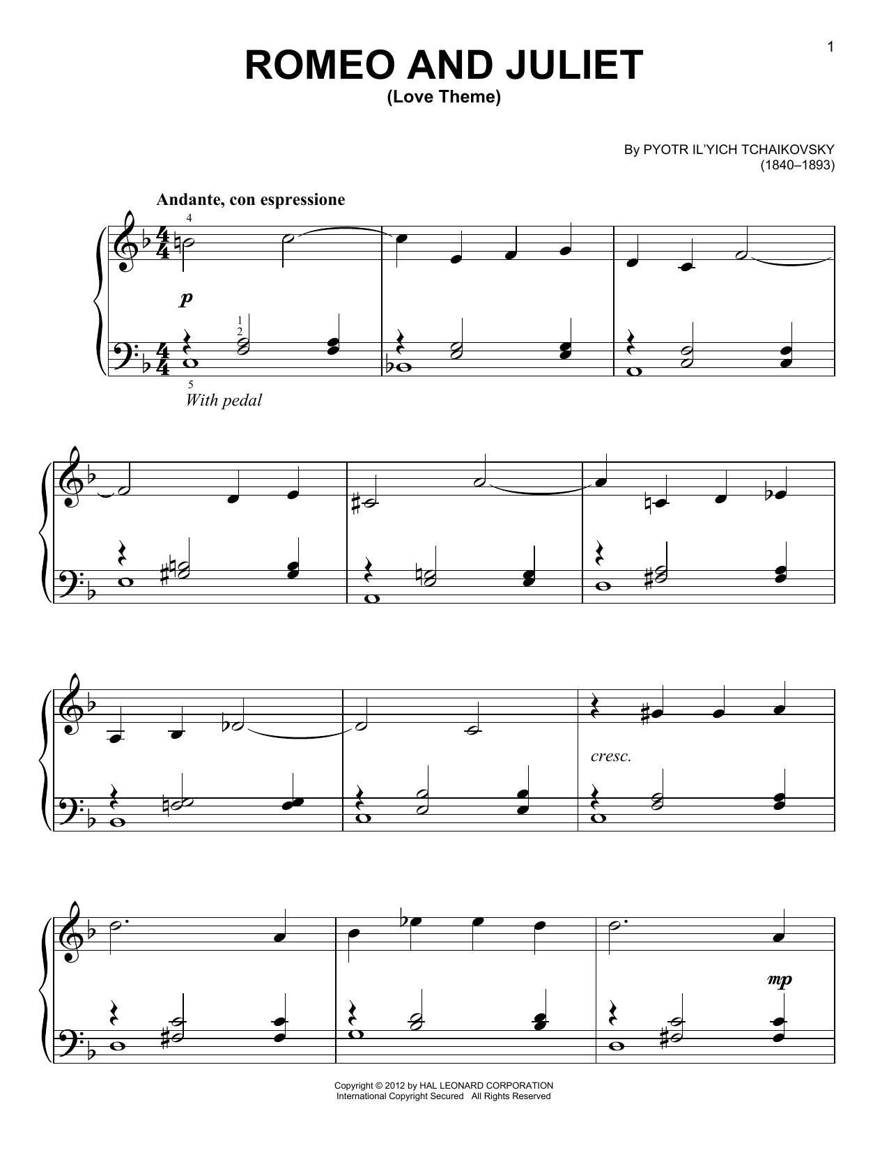 Pyotr Il'yich Tchaikovsky Romeo And Juliet (Love Theme) sheet music notes and chords. Download Printable PDF.