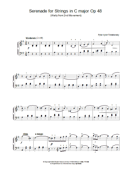 Pyotr Ilyich Tchaikovsky Serenade for Strings in C major Op.48 sheet music notes and chords. Download Printable PDF.
