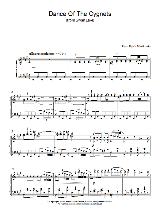 Pyotr Ilyich Tchaikovsky Dance Of The Cygnets (from Swan Lake) sheet music notes and chords. Download Printable PDF.