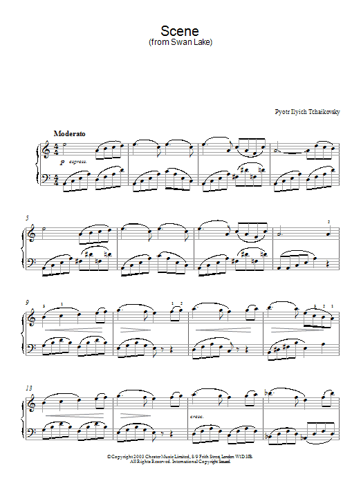 Pyotr Il'yich Tchaikovsky Swan Lake, Op. 20 (Scene) sheet music notes and chords. Download Printable PDF.