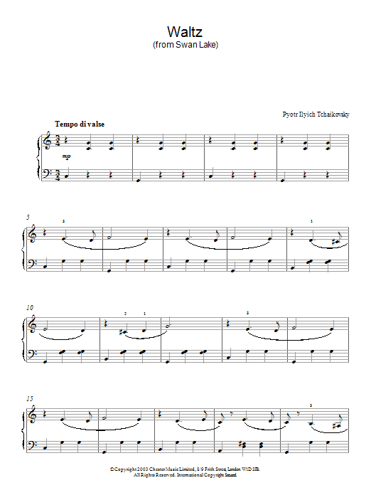 Pyotr Ilyich Tchaikovsky Waltz (from Swan Lake) sheet music notes and chords. Download Printable PDF.