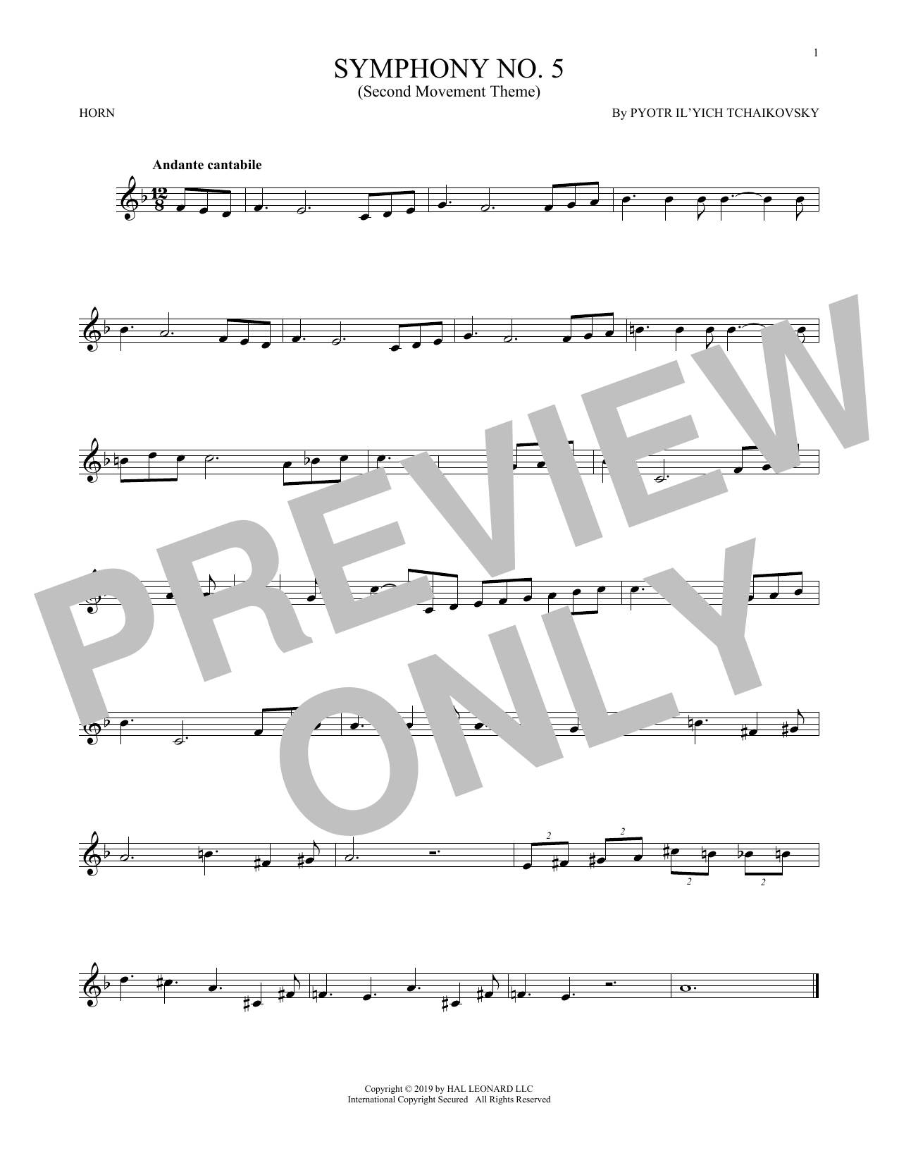 Pyotr Ilyich Tchaikovsky Symphony No.5 (2nd Movement: Andante) sheet music notes and chords. Download Printable PDF.