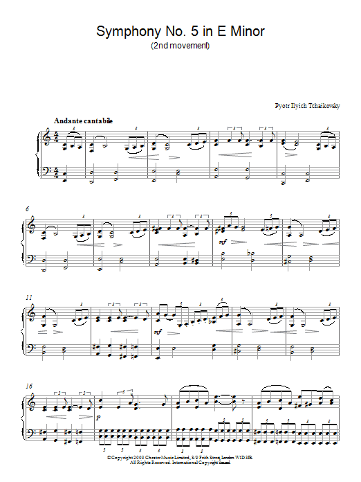 Pyotr Ilyich Tchaikovsky Symphony No. 5 in E Minor (2nd movement) sheet music notes and chords. Download Printable PDF.