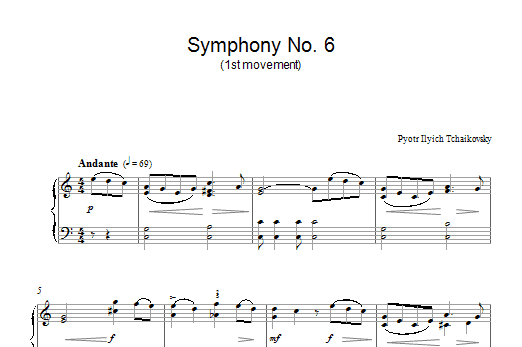 Pyotr Ilyich Tchaikovsky Symphony No. 6 (1st Movement) sheet music notes and chords. Download Printable PDF.