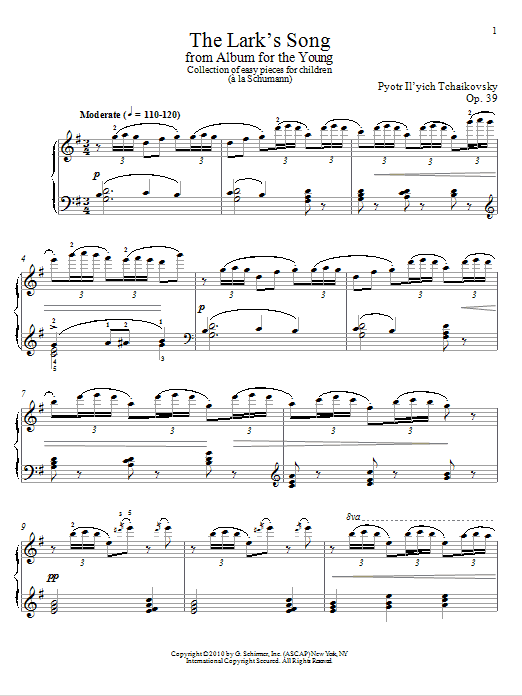 Pyotr Ilyich Tchaikovsky The Lark's Song sheet music notes and chords. Download Printable PDF.