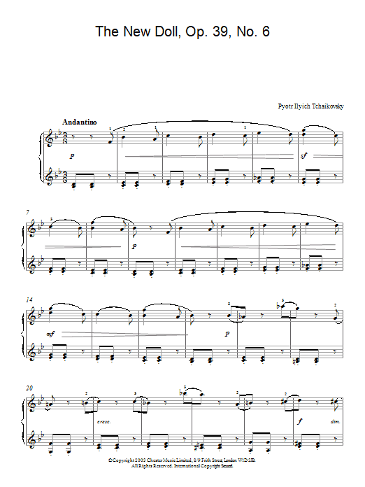 Pyotr Ilyich Tchaikovsky The New Doll, Op. 39, No. 6 (from Album For The Young) sheet music notes and chords. Download Printable PDF.
