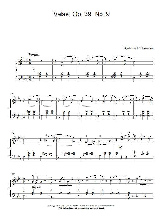Pyotr Ilyich Tchaikovsky Valse, Op. 39, No. 9 (from Album For The Young) sheet music notes and chords. Download Printable PDF.