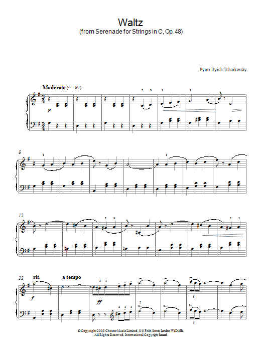 Pyotr Ilyich Tchaikovsky Waltz (from Serenade for Strings In C, Op. 48) sheet music notes and chords. Download Printable PDF.