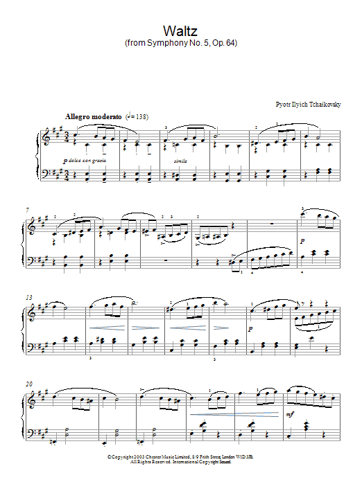 Pyotr Ilyich Tchaikovsky Waltz (from Symphony No. 5, Op. 64) sheet music notes and chords. Download Printable PDF.