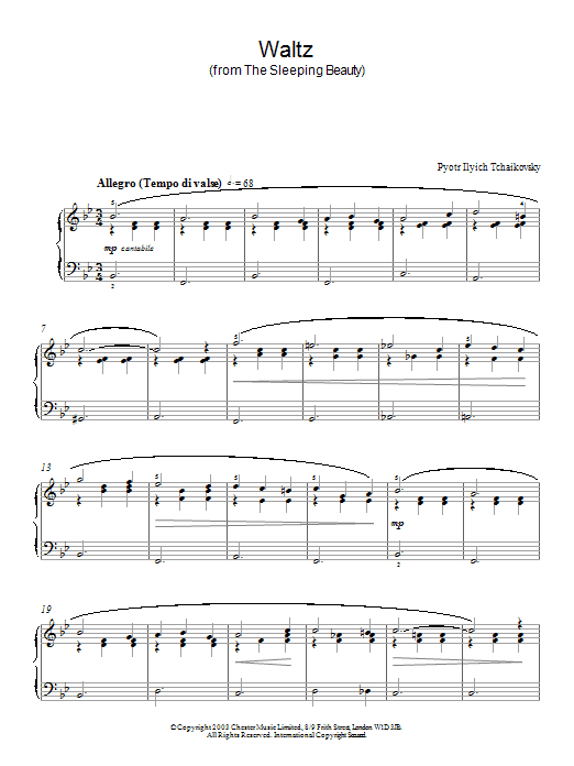 Pyotr Ilyich Tchaikovsky Waltz (from The Sleeping Beauty) sheet music notes and chords. Download Printable PDF.