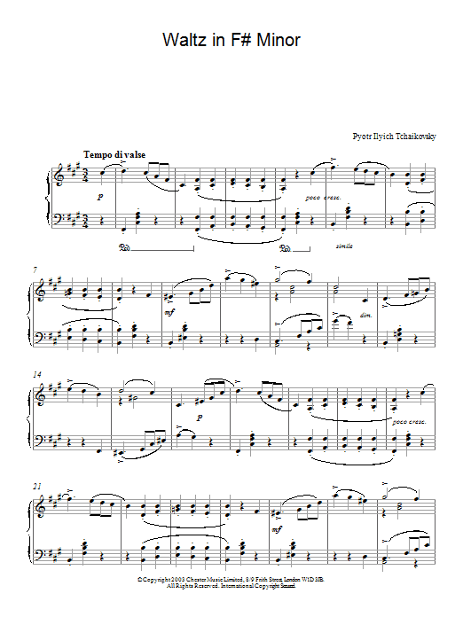 Pyotr Ilyich Tchaikovsky Waltz in F# Minor sheet music notes and chords. Download Printable PDF.