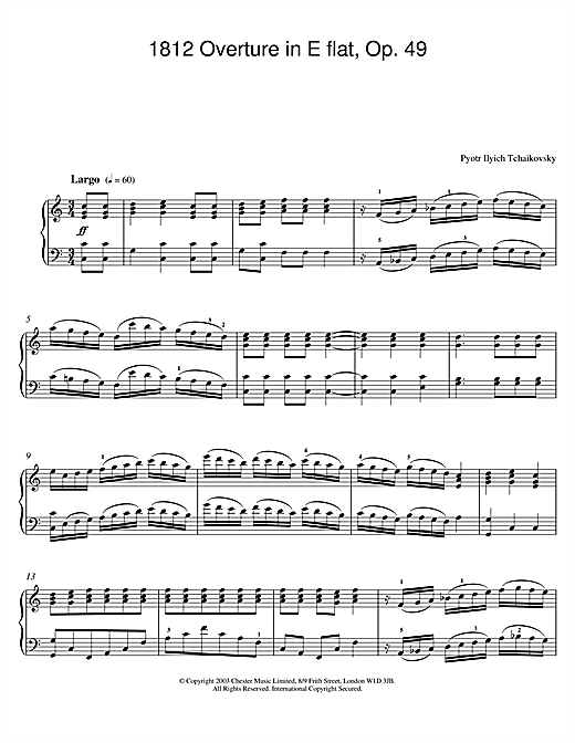 Pyotr Ilyich Tchaikovsky 1812 Overture in E flat, Op. 49 sheet music notes and chords. Download Printable PDF.