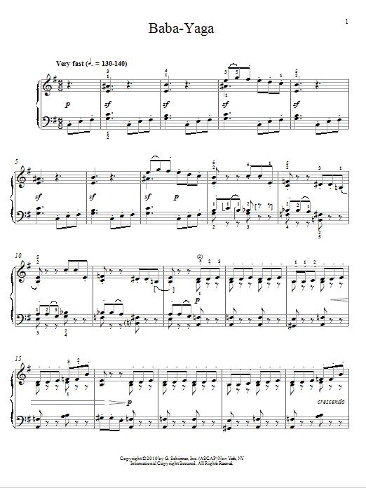 Pyotr Ilyich Tchaikovsky Baba-Yaga sheet music notes and chords