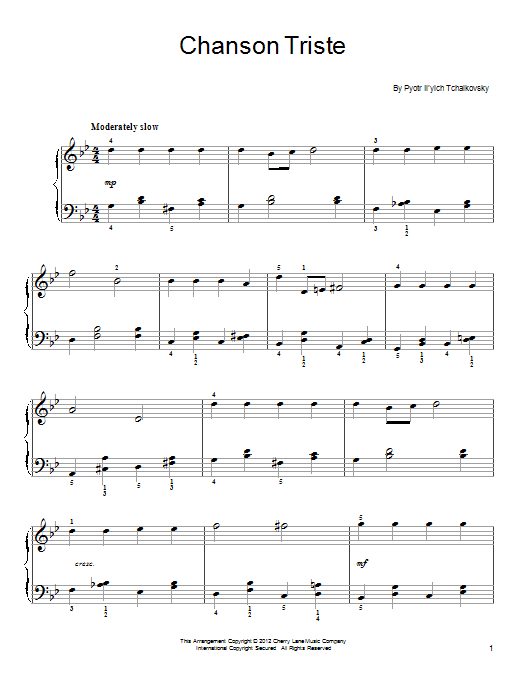 Pyotr Ilyich Tchaikovsky Chanson Triste sheet music notes and chords. Download Printable PDF.