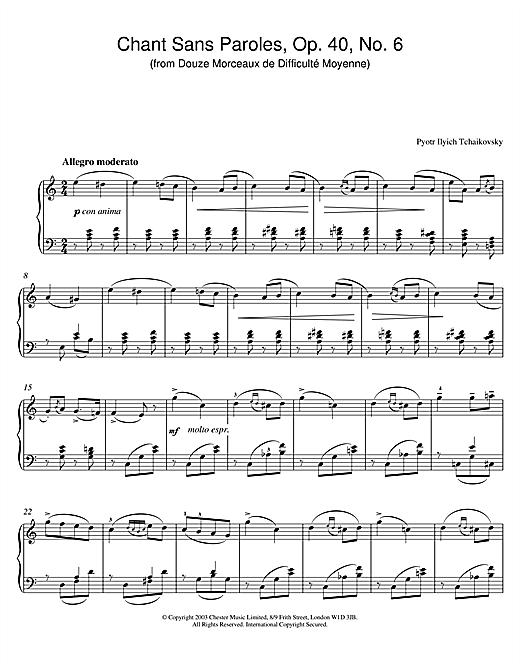 Pyotr Ilyich Tchaikovsky Chant Sans Paroles, Op. 40, No. 6 (from Douze Morceaux de Difficulté Moyenne) sheet music notes and chords. Download Printable PDF.