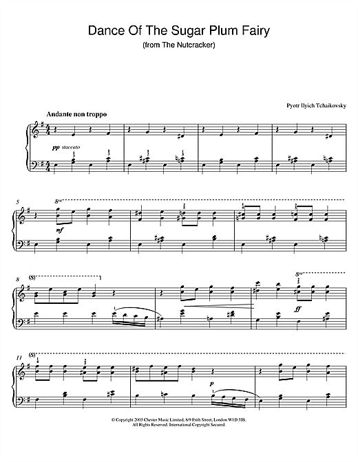 Pyotr Ilyich Tchaikovsky Dance Of The Sugar Plum Fairy (from The Nutcracker) sheet music notes and chords. Download Printable PDF.