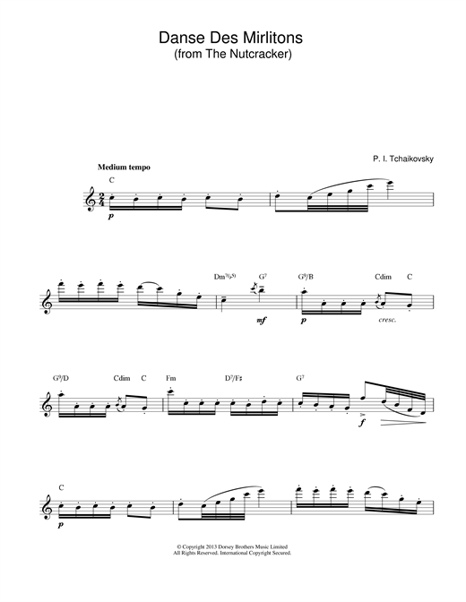 Pyotr Ilyich Tchaikovsky Danse Des Mirlitons (from The Nutcracker) sheet music notes and chords