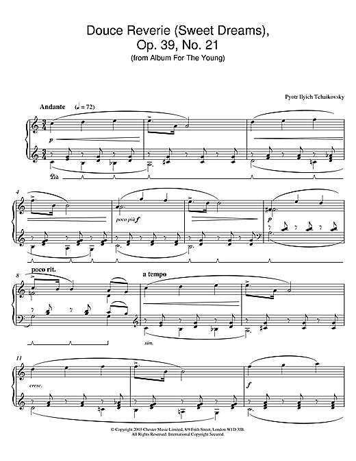 Pyotr Ilyich Tchaikovsky Douce Reverie (Sweet Dreams), Op. 39, No. 21 (from Album For The Young) sheet music notes and chords