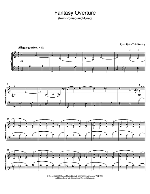 Pyotr Ilyich Tchaikovsky Fantasy Overture (from Romeo And Juliet) sheet music notes and chords