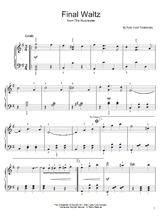Pyotr Ilyich Tchaikovsky Final Waltz sheet music notes and chords. Download Printable PDF.