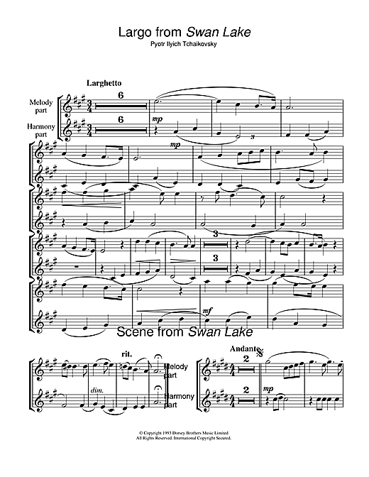 Pyotr Ilyich Tchaikovsky Largo & Scene from Swan Lake sheet music notes and chords