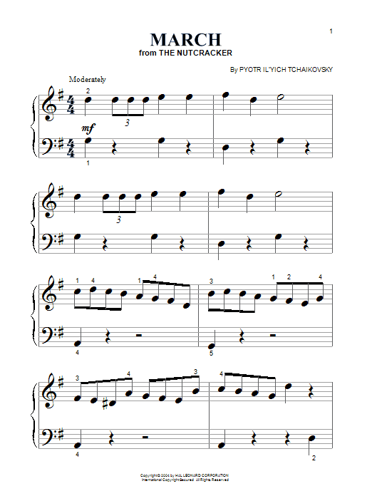 Pyotr Ilyich Tchaikovsky March sheet music notes and chords. Download Printable PDF.