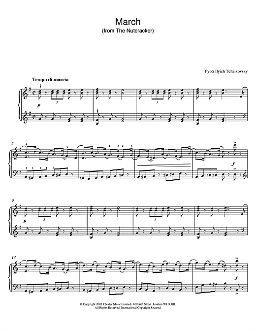 Pyotr Ilyich Tchaikovsky March Of The Toys (from The Nutcracker Suite) sheet music notes and chords. Download Printable PDF.