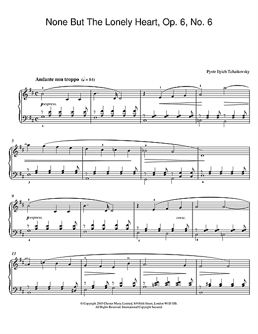 Pyotr Ilyich Tchaikovsky None But The Lonely Heart, Op. 6, No. 6 sheet music notes and chords